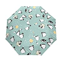 Happy Winter Cute Penguin Double Layer O Shape Handle Reverse Umbrella Windproof UV Protection Portable Inverted Umbrella Travel Umbrella for Women and Men