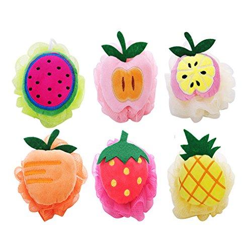 6er-Pack Lovely Fruchtform Badeschwamm Badeknäuel Duschknäule Dusche Seifschwamm für Kinder und Erwachsene