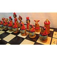 ChessEbook-Schachspiel-aus-Holz-BABUSCHKA-MATROSCHKA-Handbemalt
