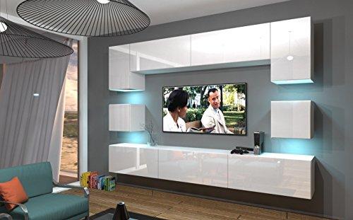 Home Direct NOWARA N1, Modernes Wohnzimmer, Wohnwände, Wohnschränke, Schrankwand (Weiß MAT Base/Weiß HG Front, LED weiß)