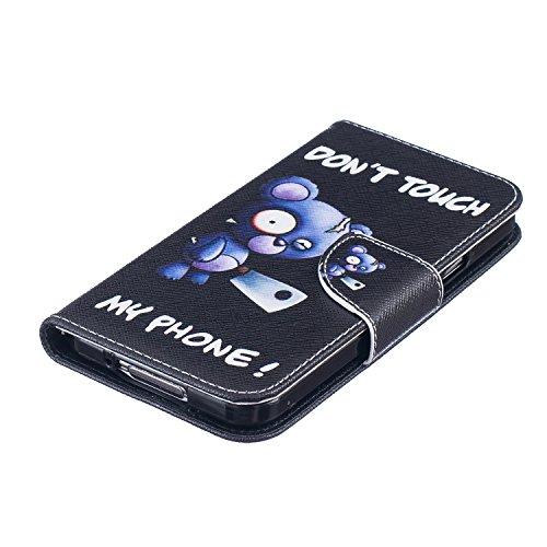 Cozy Hut Schutzhülle / Cover / Hülle / Handyhülle / Etui für Samsung Galaxy S5 Bunt Muster Design Folio PU Leder Tasche Case Cover im Bookstyle mit Standfunktion Kredit Kartenfächer mit Weich TPU Inne Blue Bear