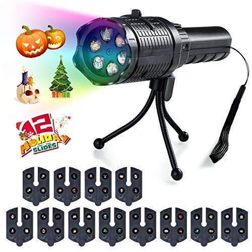 Jinxuny Tragbarer LED-Projektor für Geburtstagsfeiern Geburtstagsfeiern mit tragbarer Taschenlampe 12 Bilder, Stimmungskarte zu Hause für die Geburtstagsparty zu Hause Weihnachten (Ist Halloween Sprachen Dies Verschiedenen)