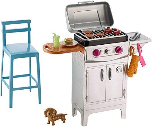 Barbie Muebles de jardín, Barbacoa y Accesorios casa de muñecas (Mattel DVX48)