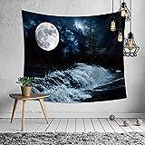 Morbuy Universum Sterne Weltraum Wandteppich Tapisserie Milchstraße Design Motiv Wandbehang aus Polyster Wandtuch Tischdecke Meditation Strandtuch Yogamatte (Klein (130 x 150cm), Seemondlicht)