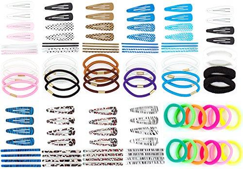 112 teiliges Set mit 40 Haarspangen, 36 Haarnadeln sowie 36 Haargummis - 12 verschiedene SB Karten - Hairclips, Hairgrip, Hair rubber Set