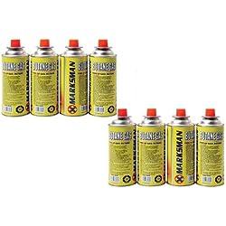8 botellas de gas de butano para cocinas, barbacoas, estufas y camping