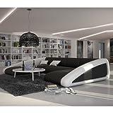 Innocent Nassau - Chaise longue con reposabrazos, piel sintética, color blanco y negro