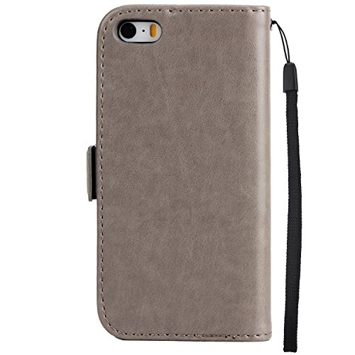 IPhone SE Case, étui à papillon à double boucle texturé à papillon texturé de haute qualité pour iPhone SE / iPhone 5 / iPhone 5S ( Color : Black ) Gray