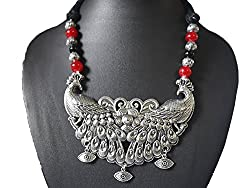 AyA Fashion Designer Oxidised German Silver Peacock Necklace withMaroon , Black and Silver Beads| Black and Maroon Thread work |Elegant| Stylish ,Trendy Unique Neckpeice | Partywear, Office wear | Festive Wear | Elegant | Suitable for Women and Girls