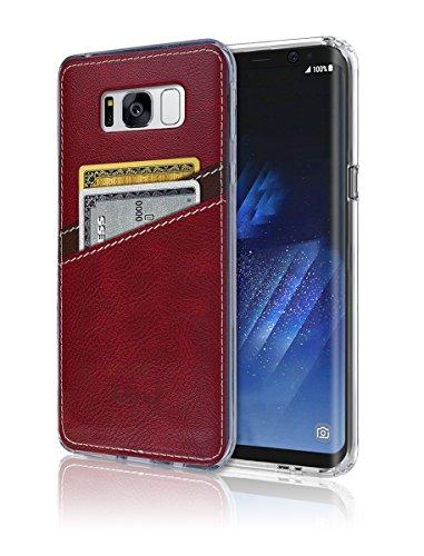 S8Plus Case [Leder Rückseite] [Wallet Case] [2Karte] S8Plus Weich Slim Fit Hybrid Bumper Polyurethan TPU Flexibles Leicht, Schutz für Samsung Galaxy S 8Plus, Rot - Case Bling Note4 Samsung