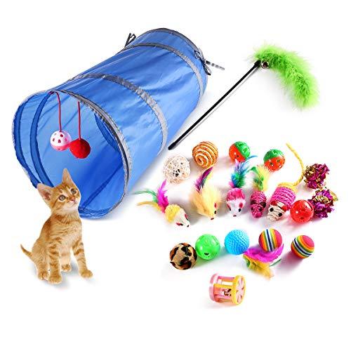 Katzenspielzeug Serie von Homeasy 20 Stück Katzen Spielzeug umfassen Tunnel Kratzspielzeug Spielzeugmäuse Plüschspielzeug Interaktives Spielzeug für Ihre Katze