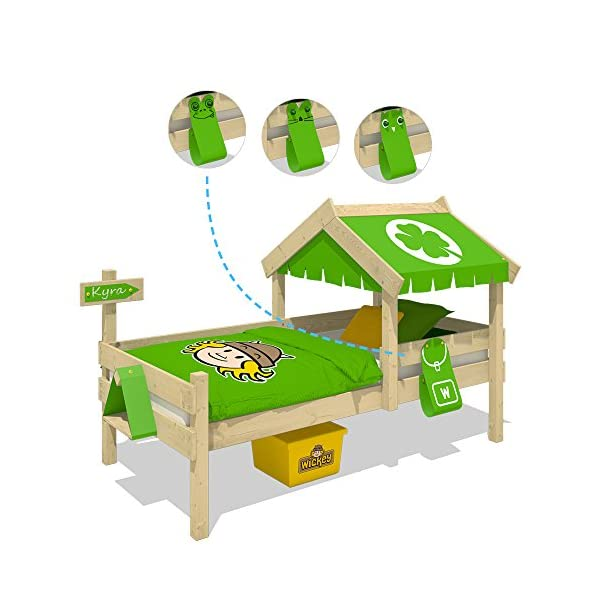 WICKEY Children's Bed Crazy Buddy Single Bed Adventure Bed with roof and slatted Bed Base, Green Wickey Nice play bed for children with roof and bird house - Quality and safety tested Solid boards 18x120mm - Solid standing beams 58x58mm - Mattress surface 200x90cm Natural and untreated wood - Solid 18mm slatted bed base - All screws included 3