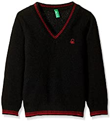 United Colors of Benetton Boys Sweater (15A1032C4047G100_Black_S)