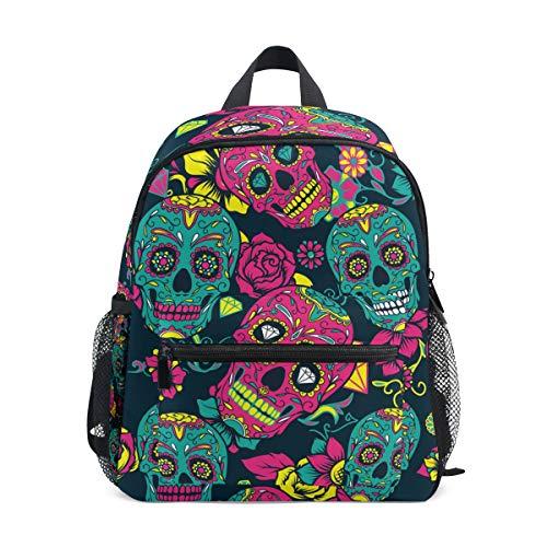 BIGJOKE Kinder-Rucksack mit mexikanischem Totenkopf Bedruckt, Schulranzen für Kleinkinder, Schulranzen, Vorschulen, Kindergarten für Mädchen und Jungen
