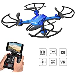 NOVEDAD - Hover Drone, Potensic F181WH AMPLIADO Wifi FPV 2.4GHz 4CH 6-Axis Gyro RC Quadcopter Drone con Cámara HD 2 Megapíxeles, Función 3D Flips Stepless-speed Velocidad variable- Azul