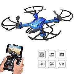 Idea Regalo - Drone con Telecamera HD Potensic Drone Quadricottero Wifi FPV F181WH 2 Megapixel Camera Funzione Modalità Senza Testa, Sospensione Altitudine Adatto ai Principianti