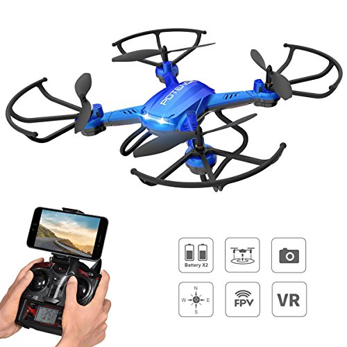 Potensic Drone con Telecamera HD Drone Quadricottero WiFi FPV F181WH 2 Megapixel Camera Funzione modalità Senza Testa, Sospensione Altitudine Adatto ai Principianti