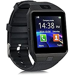 Link+ Bluetooth DZ09 Smart Watch Wrist Watch Phone with Camera & SIM Card Support Hot Fashion New Arrival Best Selling Premium Quality Lowest Price with Apps like Facebook, Whatsapp, Twitter, Time Schedule, Read Message or News, Sports, Health, Pedometer, Sedentary Remind & Sleep Monitoring, Better Display, Loud Speaker, Microphone, Touch Screen, Multi-Language, Compatible with Android iOS Mobile Tablet-Black Color