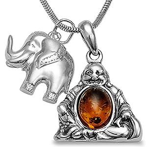 -Schmuckset-Handgefertigt 925 Silber Halskette Bernstein Happy Buddha Amulett & Elefanten Anhänger Elefant Kette, Geschenkbox 3tlg. Set mit 40 45 50 55cm Schlangenkette #1670