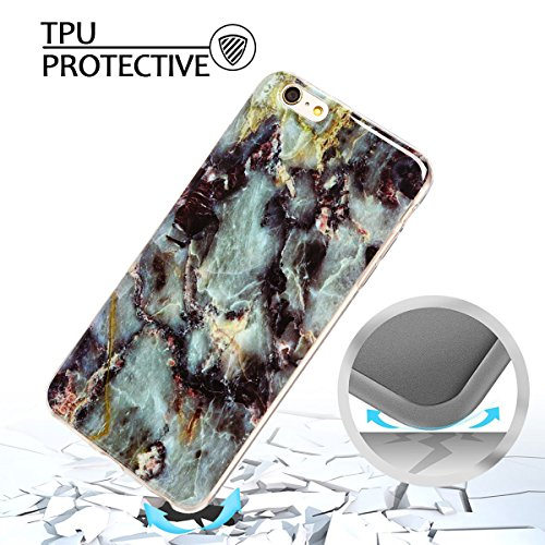 iphone 6 plus Hülle, Marmor Design Muster TPU Dünn Silikon Schutzhülle für iphone 6 plus , E-lush Kristallklar Durchsichtig Kratzfeste Handyhülle Ultra Chic Thin Weich Schutzhülle Rückschale Etui Bump Grau und lila