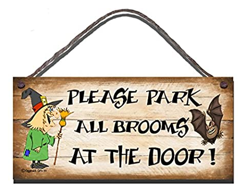 Shabby Chic Birthday Occasion Wooden Funny Sign Wall Plaque Witch. Please Park All Brooms At The door Gift
