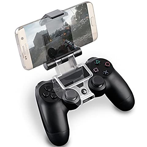 Fosmon PS4 Smart Clip Holder pour PlayStation 4 DualShock Controller, Smartphone Game Mount Contrôleur Titulaire avec OTG Data 6 inch Câble pour Samsung Galaxy S7/S6/S5, Note 5/4/3, HTC, LG, Android Devices