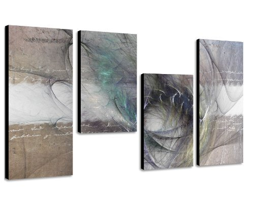 Augenblicke Wandbilder Das passt an jede Wand - 130x70cm 4 teiliges abstraktes Keilrahmenbild (30x70+30x50+30x50+30x70cm) abstraktes Wandbild mehrteilig Gemälde-Stil handgemalte Optik Vintage