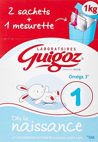GUIGOZ 1 Dès la Naissance - Lait infantile 1er âge en poudre - de 0 à 6 mois - 1Kg - 2 sachets de 500g