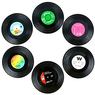 TRIXES Pack of 6 Assorted Retro Vinyl Hot & Cold Drink Coasters Coffee Table Perfect Conversation Piece - inexpensive UK light shop.