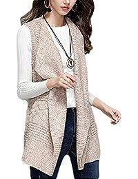 050d204bb46ec Zerlar Womens Lapel Sleeveless Long Open Cardigan Vest Knitwear Jacket  Sweater