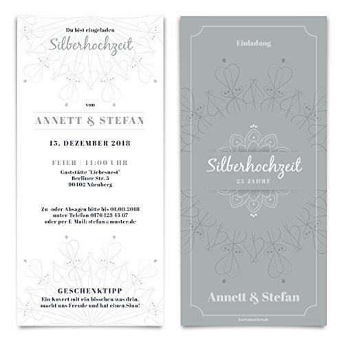 20 x Hochzeitseinladungen Silberhochzeit silberne Hochzeit Einladung individuell - Blumen Ornamente