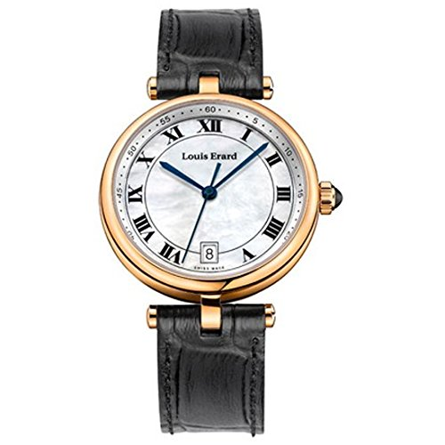 LOUIS ERARD 11810PR04BRCB7 LADIES BLACK CALFSKIN STAINLESS STEEL CASE WATCH