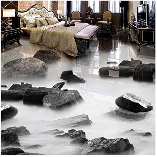 Wandbild 3D Stein Wasser Boden Fliesen Malerei Wand Wohnzimmer Bad Wasserdicht Pvc Vinyl Boden Tapete Aufkleber-400cmx280cm -