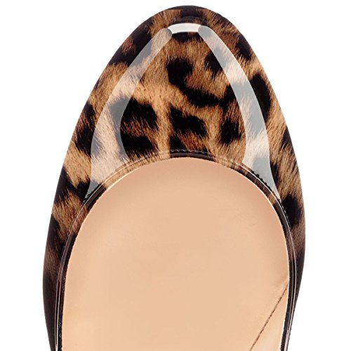 EDEFS Damen 120mm Extreme Sky Heels Lack Pumps Runde Zehen Geschlossen Stilettos Schuhe Leopard