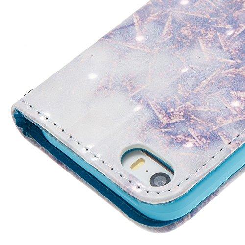 EKINHUI Case Cover Marmor Stein Grain Texure Pattern PU Ledertasche Cover, Retro Bookstyle Flip Stand Case mit Magnetverschluss & Card Slots & Lanyard für iPhone 5S & SE ( Color : F ) A