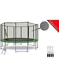 LS-T430-PA14 (GAD) DELUXE LifeStyle ProAktiv - Trampoline de Jardin - 430 cm - 14ft - Fort Filet de Sécurité - 180kg Capasite - TÜV/GS/CE - Model 2017