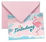 Gepard Solutions 10 Einladungen mit Umschlägen mit Motiv Flamingo ohne Text / Einladungskarten Kindergeburtstag ohne Innentext passt zu Geburtstag, Poolparty, Gartenparty, Cocktailparty