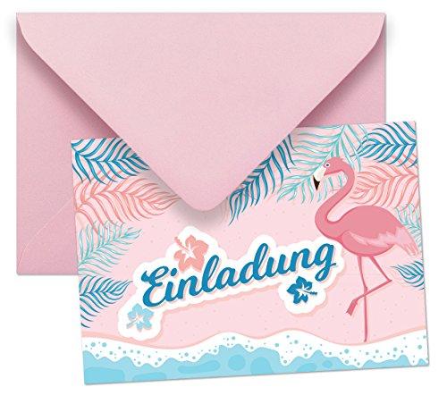 mschlägen mit Motiv Flamingo ohne Text / Einladungskarten Kindergeburtstag ohne Innentext passt zu Geburtstag, Poolparty, Gartenparty, Cocktailparty (Party Passt)