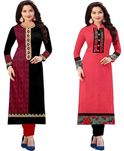 Royalty Women's Pink Combo Printed Cotton Kurti (RLT 1502 Pink)