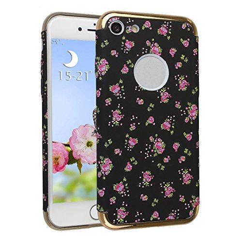 Cover Pour iPhone 7, Asnlove PC Hard Dur Case Lumineux Housse Brille dans l'obscurité Ultra Mince Coque Rigide Étui Joli Cas Pour iPhone 7 - Chrysanthème-2 Fleur-1