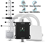 Proutone 65dB gsm 3G 900MHz Amplificador de Señal Kit con Panel Antena Interior y gsm Yagi Antena Exterior con Cable de 10m para Uso de Edificios, Casa,Oficina y Ranchos