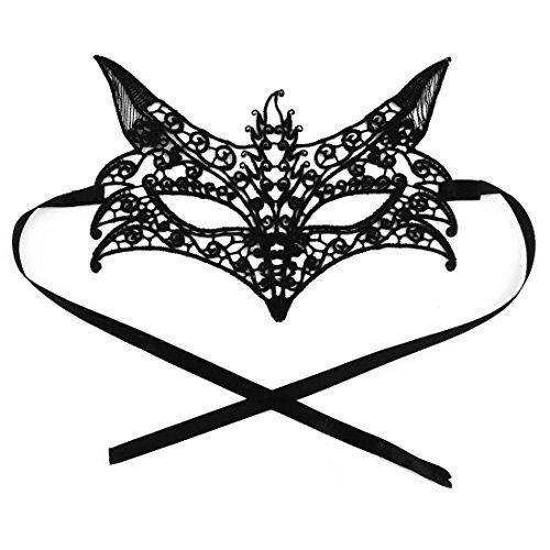 DealMux Fox Shaped Frauen Sexy Maskerade Kostüm Fantasie-Partei-Bar Eyepatch Eyemask Lace-Augen-Schwarz-Maske