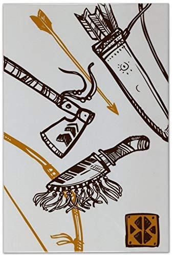 Fliese Kachel Western Style Kriegsbeil Keramik bedruckt 20x30 cm (Western-keramik-fliese)