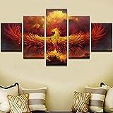 mmwin Lienzo Arte de la Pared Modular Abstracta 5 Unidades Fire Phoenix Bird Pictures Sala de Estar Decoración para el hogar HD Impreso Poster Trabajo