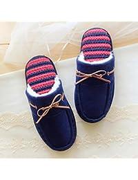 Viento simple hogar algodón arco pelo antideslizantes pantuflas , deep blue , 36-37