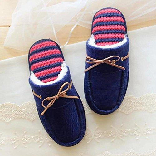 HH Éolienne simple maison coton bow cheveux chaud anti-dérapant pantoufles deep blue