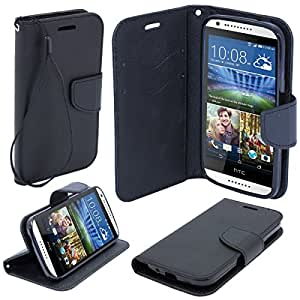 Moozy dual color Fancy Diary Book Wallet Case Flip cover with stand / wrist strap / Silicone phone holder for HTC Desire 620 Black