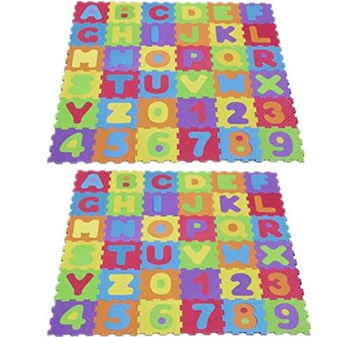 Blackspur Lot de 2 tapis de jeu en mousse souple pour enfants Puzzle lettres/chiffres