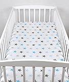BABYLUX Kinder Baby SPANNBETTLAKEN Spannbetttuch Baumwolle 60x120 70x140 Sterne (70x140 cm, 94. Sterne Blau)