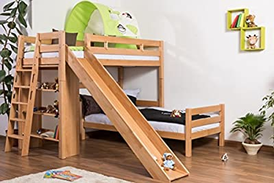 Children's bed / Bunk bed Pauli solid, natural beech wood, comes with shelf and slide, includes slatted frame - 90 x 200 cm